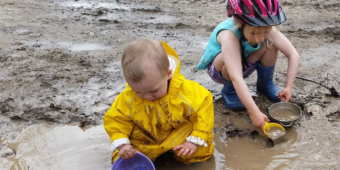 Kids playing in the mud